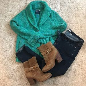 Knit green and blue chunky sweater
